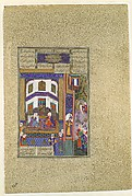 """Mihrab Vents His Anger Upon Sindukht"", Folio 83v from the Shahnama (Book of Kings) of Shah Tahmasp"