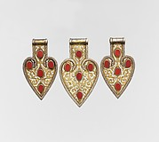 Group of Three Detached Cordiform Pendants
