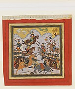 """Rustam Seizes Afrasiyab by the Girdle and Lifts him from the Saddle"", Folio from a Shahnama (Book of Kings)"