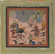 """""""Bazur, the Magician, Raises up Darkness and a Storm"""", Folio from a Shahnama (Book of Kings)"""
