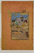 """""""Shaikh Mahneh and the Villager"""", Folio 49r from a Mantiq al-tair (Language of the Birds)"""