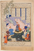 """Luhrasp Hears from the Returning Paladins of the Vanishing Kai Khusrau"", Folio from a Shahnama (Book of Kings) of Firdausi"
