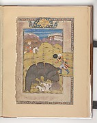 """Rustam Kills a Monster while Zal Watches from Above"", Folio from a Shahnama (Book of Kings)"
