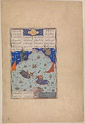 """The Sixth Joust of the Rooks: Bizhan Versus Ruyyin"", Folio 343r from the Shahnama (Book of Kings) of Shah Tahmasp"