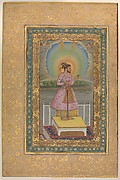 """Shah Jahan on a Terrace, Holding a Pendant Set With His Portrait"", Folio from the Shah Jahan Album"
