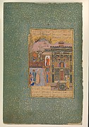 """Shaikh San'an beneath the Window of the Christian Maiden"", Folio18r  from a Mantiq al-tair (Language of the Birds)"