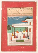 """A Raja and a Guest Seated on a Terrace Listening to Musicians Perform"", Folio from a Ragamala"