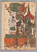 """""""The Fox and the Battling Rams Observed by the Ascetic"""", Folio from a Kalila wa Dimna"""