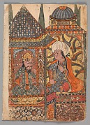 """Burzuyeh is Summoned by Nushirvan on his Return from India"", Folio from a Kalila wa Dimna"