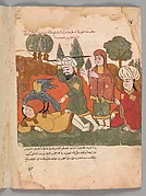 """The Falcon Plucks out the Eyes of the Falconer for Bearing False Witness Against the Nobleman's Wife"", Folio from a Kalila wa Dimna"