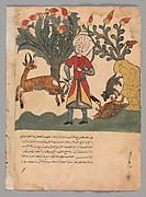 """The Gazelle Lures the Hunter Away While the Mouse Frees the Bound Tortoise"", Folio from a Kalila wa Dimna"