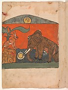 """The Clever Hare with the King of the Elephants at the Spring of the Moon"", Folio from a Kalila wa Dimna"