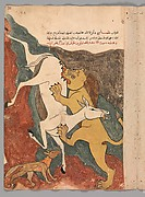 """The Monkey Tells the Story of the Fox Luring the Ass to its Death by the Lion"", Folio from a Kalila wa Dimna"