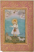 """Akbar With Lion and Calf"", Folio from the Shah Jahan Album"