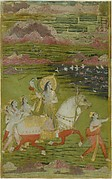 Chand Bibi Hawking with Attendants in a Landscape