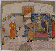 """Zahhak Brought as a Prisoner before Faridun"", Folio from a Shahnama (Book of Kings)"