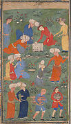 """Preparing a Noonday Meal on an Outing"", Folio from a Kulliyat (Complete Works) of Sa'di"
