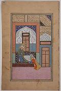 """""""Zulaikha Seizing the Skirt of Joseph's Robe"""", Folio of a Yusuf and Zulaykha of Jami"""