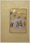 """Sultan Sanjar and the Old Woman"", Folio from a Khamsa (Quintet) of Nizami"