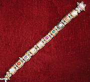 Nine-Gem (Navaratna) Talismanic Bracelet, One of a Pair
