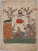 """Man's Fate or the Man Taking Refuge in a Well Inhabited by a Dragon"", Folio from a Kalila wa Dimna"
