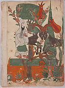 """The Fox and the Battling Rams Observed by the Ascetic"", Folio from a Kalila wa Dimna"