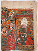 """The Queen Ilar (Irakht) Before the King Warning him About the Brahmins (?)"", Folio from a Kalila wa Dimna"