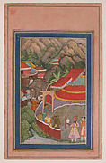 """Encampment in the Hills: Jahangir with Falcon"", Folio from the Davis Album"