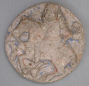 Roundel with mounted falconer and hare