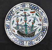Dish with Sailing-Ship Design
