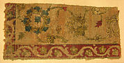 Velvet Fragment with Scrolling Floral Vine Design