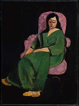 Laurette in a Green Robe, Black Background