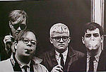 Andy Warhol, David Hockney, Henry Geldzahler, and Jeff Goodman from