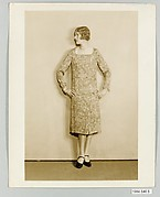 8 x 10 inch black and white photographs of model wearing dressmade from Stehli Silks Americana Print collection.