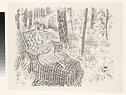 Jeune fille a la chaise longue dans un sous-bois