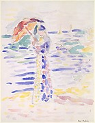 Woman with an Umbrella at the Seashore