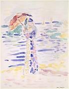 Woman with an Umbrella at the Seashore