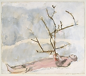 Man Lying with Branch