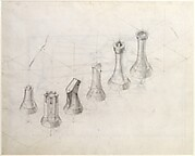 Recto: Perspective Study for Chess Pieces; Verso: Lithograph Published in a 'Book of Divers Writings'