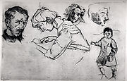 Sheet of Studies with Five Portraits