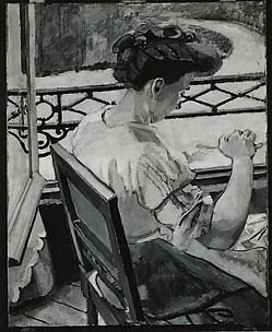 Helene Embroidering at the Window