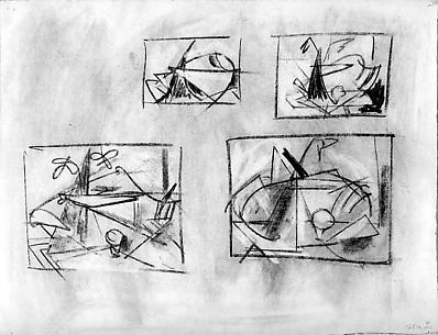 Untitled (four thumbnail still-life sketches)