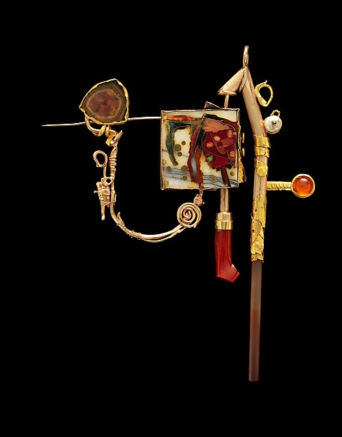 """""""Homage to Cy Twombly and Joseph Cornell"""" Brooch in book"""