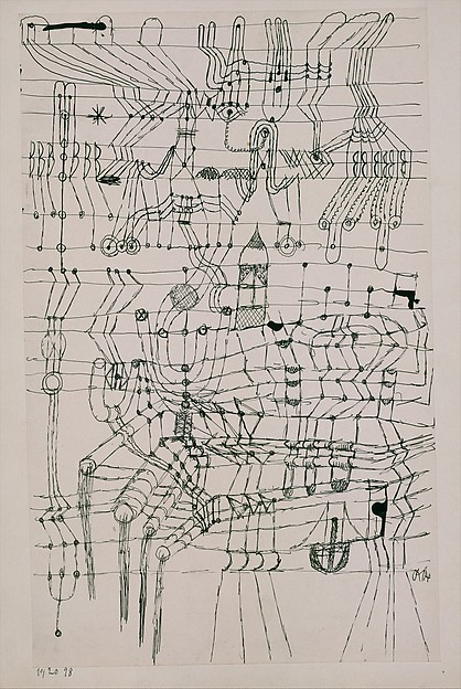 bands of horizontal lines less straight one band is the lines of his smile lips architectural symbolic shapes built into the figure