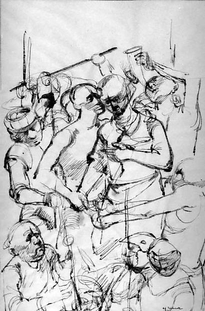 Study for The Judas Kiss: Christ and Judas