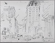 """Sketch for the painting """"Near Union Square, Looking Up Park Avenue"""""""