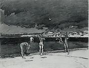 Bathers by the Pond, Dark Sky, Sagaponack