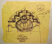 Art Deco Chair, Study Sketches - Elevation of Seat Back and Miscellaneous Detail