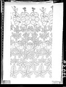 """Americana Print: Hollyhocks"" Textile"