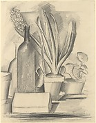 Still Life with Bottle and a Pot of Hyacinths